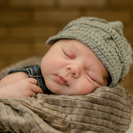Sleepy Head by Laura Gardner - Babies & Children Babies ( nd, sweet baby, baby, portraits, dapper dude, baby boy, newborn, hat )