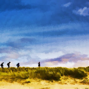Untitled by Fredrik A. Kaada - Painting All Painting ( hill, sky, nature, colorful, blue, grass, art, outdoor, beach, people, painting )
