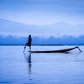 Silhouette by Andreja Novak - People Street & Candids ( water, silhouette, lake, travel, boat, people,  )