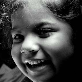 by Dhannya Jacob - Babies & Children Children Candids ( face, girl, black and white, baby, smile, people, pwc faces )