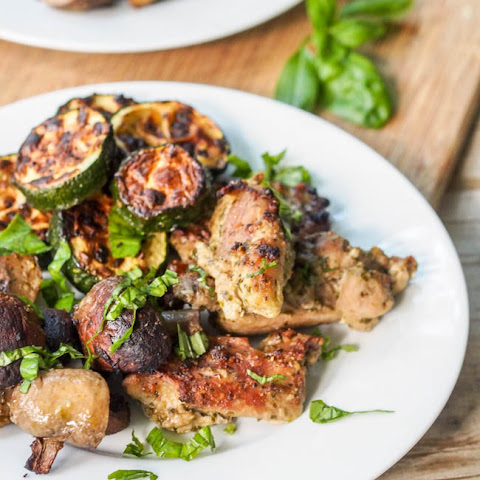 Broiled Pesto Chicken Thighs with Mushrooms and Zucchini
