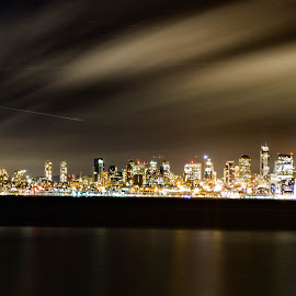 A night in Seattle by Yash Mehta - City,  Street & Park  Skylines ( clouds, skyline, night photography, seattle, long exposure, downtown, travel photography, motion blur )
