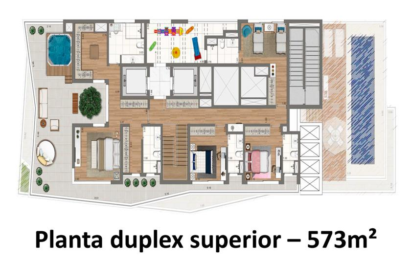 Planta Cobertura Duplex Superior  - 573 m²