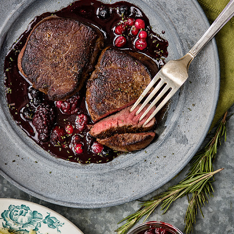 Venison Steak with Port and Red Berry Sauce