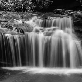 Table Rock in Black and White by Teresa Solesbee - Black & White Landscapes ( mountains, nature, waterfall, black and white, water,  )