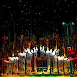 The Monument by Nancy Bowen - Digital Art Places ( lights, monument, multicolored )