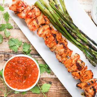 Harissa Chicken Skewers with Herb Yogurt Dipping Sauce