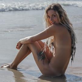 shoreline 2 by Daniel Jamieson - Nudes & Boudoir Artistic Nude ( sand, blonde, girl, nude, summer, ocean, fun, beach )
