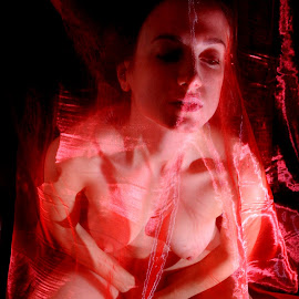 Meditation in Red by DJ Cockburn - Nudes & Boudoir Artistic Nude ( sophie french, red, dark hair, sitting, nude, home shoot, off-camera flash, bed, woman, brunette, sheer )