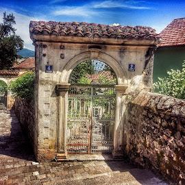 through the gates by Zeljko Samardzic - City,  Street & Park  Street Scenes ( montenegro, old, sunny, mediterranean, herceg novi, town, gate )