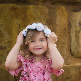 Flowers in my hair by Judy Deaver - Babies & Children Child Portraits ( flowers, pink, roses, child )