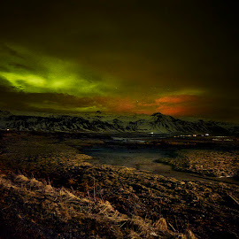Snaefell Night Views by Fokion Zissiadis - Landscapes Prairies, Meadows & Fields ( iceland, night photography, northern lights, snowy, skies )