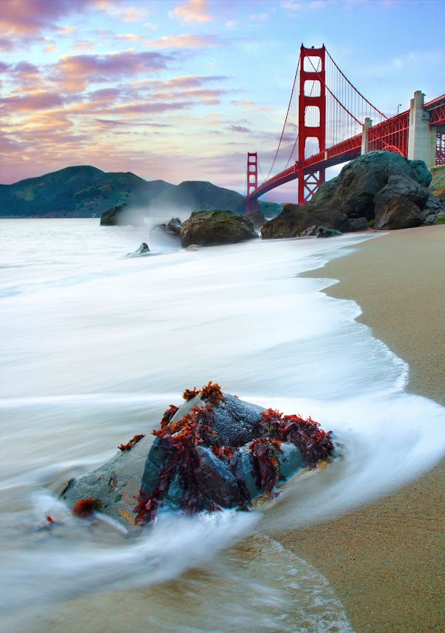 San Francisco, CA. by Dustin Penman - Travel Locations Landmarks ( sand red, sewed, dustin, california, coast low tide, rocks sunset, bridge, golden gate, penman, san francisco )