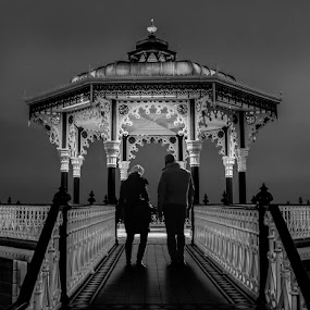 Evening Stroll by Corin Spinks - People Couples ( bandstand, brighton, couple, night, people, evening,  )