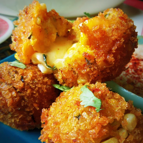 Cheese-Filled Plantain & Corn Fritters