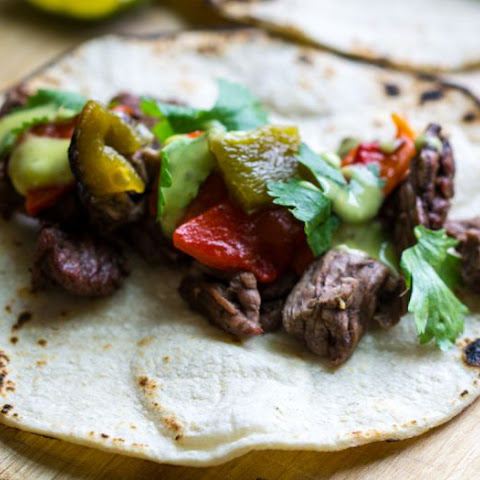 Citrus Marinated Steak and Pepper Tacos