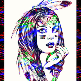 Color Me Gone by Vince Scaglione - Digital Art People ( native, colors, woman, american, digital art, gone, india )