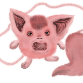 Floofleboof by Deemarie Valenza - Illustration Cartoons & Characters ( cool, fluffy, creature, pink, round, weird, cute, animal )