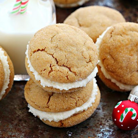 Ginger Sandwich Cookies with Cream Cheese Icing