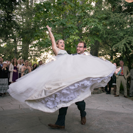 Woo hoo!!!! by Michael Keel - Wedding Other ( dancing, first dance, wedding, vineyards, california, forest, bride, groom, woods, napa )