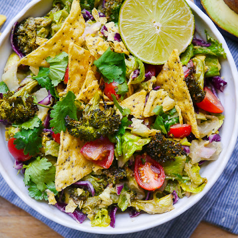 Roasted Broccoli & Guacamole Salad (Vegan)