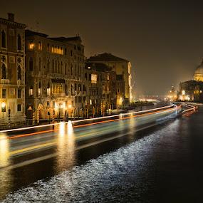 Main highway by Cvetka Zavernik - Buildings & Architecture Public & Historical ( water, venice, night, traffic light, channel )