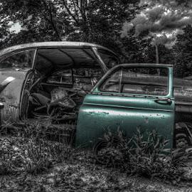 Aqua-Mobile by Chris Cavallo - Transportation Automobiles ( old car, maine, selective color, black and white, aqua, antique, abandoned, decay )
