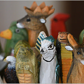 Wooden Animals  by Lorraine D.  Heaney - Artistic Objects Toys