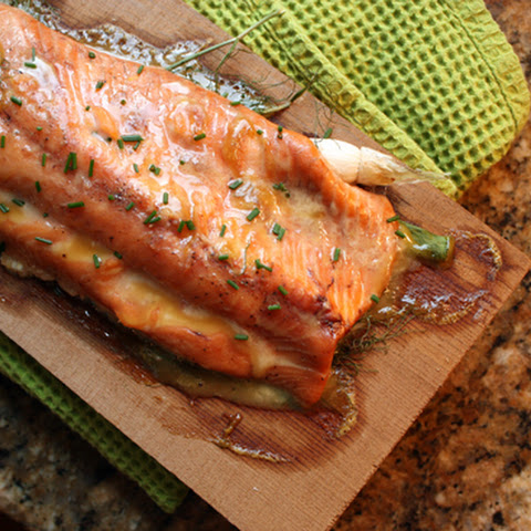 Cedar Planked Salmon with Maple Mustard Glaze