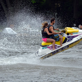 Jet Ski Fun by Barbara Nuetzmann - Transportation Other ( water, jet ski, couple, river )