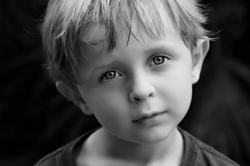 Innocence  by Katie McKinney - Babies & Children Child Portraits ( child, face, black and white, fine art, innocence, people, hair, boy, portrait, emotion, eyes,  )