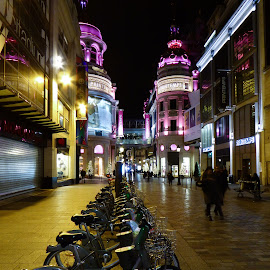 Night shopping in Paris by Anatoliy Kosterev - City,  Street & Park  Markets & Shops ( lights, paris, bicycles, night, shopping, city )