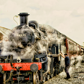 Ready to Depart by Dave Smith - Transportation Trains ( old, station, engine, railways, locomotive, rail, retro, train, tracks, steam )
