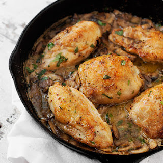 Chicken and Mushrooms in a Creamy Mustard Tarragon Sauce