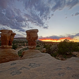 Firey Sky in Devils Garden by Justin Giffin - Landscapes Deserts ( desert, rock formations, grand staircase-escalante, utah, sunset )