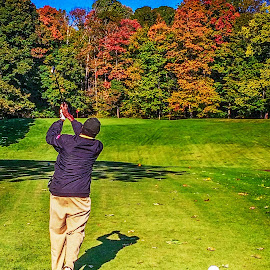 Par 3 in the Autumn by Richard Michael Lingo - Sports & Fitness Golf ( golfer, autumn, golf, trees, tee box )