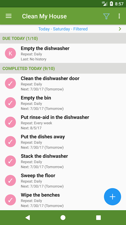Clean My House - Task List Screenshot 1