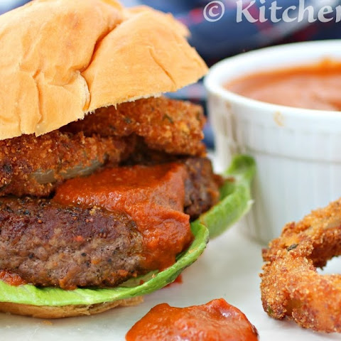 Bold and Spicy Chipotle BBQ Onion Ring Burger (Burger Week) #burgers