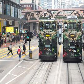 Tram Cars by GRaiser Li - Transportation Other ( hong kong, hk, tram, transportation, travel photography, street photography, city )