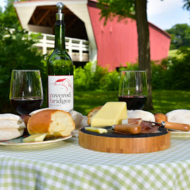 Snack at the Park by Greg Harrison - Food & Drink Alcohol & Drinks ( iowa wine, rattlesnake red wine, the bridges of madison county, covered bridges, wine and cheese )