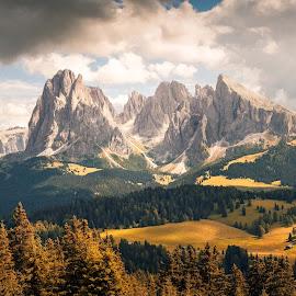 Langkofel & Plattkofel by Franz Engels - Landscapes Mountains & Hills ( mountains, dolomiti, pano, dolomites, landscape, unesco, alps )