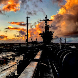 Sunset On Carrier by Justin Hymas - Transportation Boats ( plane, california, sunset, ships, military )