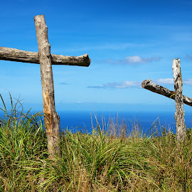 Resurrected by Jun Robato - Public Holidays Easter ( easter, guam, landscapes, mt. lam lam, cross )