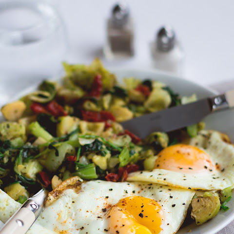 Sauteed Pak Choy and Brussels Sprouts with Eggs