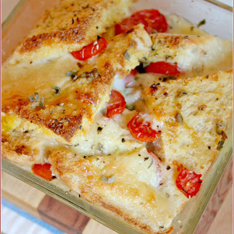 Savoury Caprese Bread & Butter Pudding
