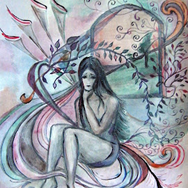 by Vesna Disich - Drawing All Drawing ( girl, watercolors, woman, poetical, drawing )