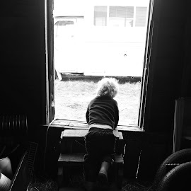 Into the barn  by Darian Hughes - Babies & Children Children Candids ( farm, barn, black and white, country life, toddler )