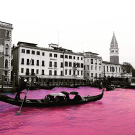by Vanja Duraković - Landscapes Travel ( edited, selective color, selective, boats, edit, architecture, boat, people, manipulation, selective colour, color, buildings, venice, pink, bnw, editoftheday, photoshop )