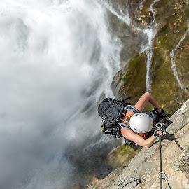 Waterrrrrrrr by Ivan Milosevic - Sports & Fitness Climbing ( water, weiß, waterscape, konopac, waterfall, sajla, white, sport, helm, seil, women, klettern, fitnes, climbing, slem, planinarenje, wasserfall, tirol, frau, penjanje, austria, vodopad )