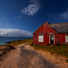 Fishermans Cottage by Ian Pinn - Buildings & Architecture Homes ( scotland, red, blue, western isles, harris, hebrides, tin )